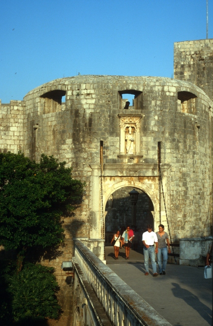 one of the gates in the city wall of Dubrovnik
