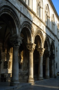 columned arches of the palace