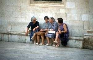 the local women discussing matters