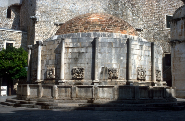 the famous fountain of Dubrovnik, beautifully restored after the war