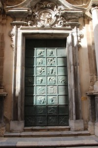 a metal church door in Trapani