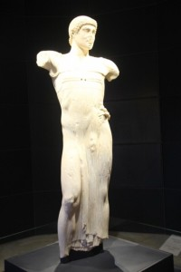 the marble statue 'il Giovinetto de Monzi', in the museum (although probably not the original)