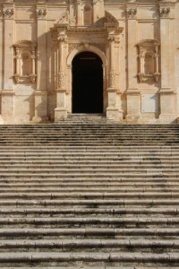 church stairs along the main street of Noto