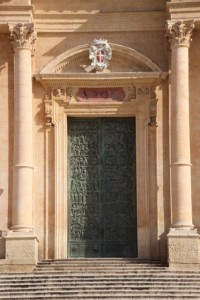 the metal door of the cathedral