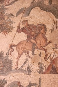 detail of the hunting scene, another hunter, mounted