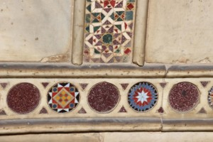 delicate coloured marble decorations outside the Cappella