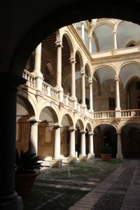 the courtyard of the Norman palace