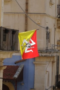 the Sicilian flag, which is everywhere