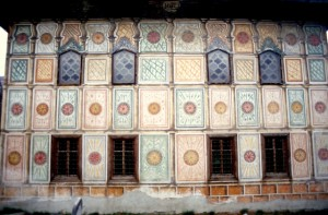 the painted panels of the mosque