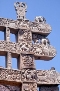one of the entrance gates to the Sanchi Buddhist complex