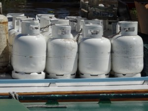gas bottles ready for delivery to the houses in the delta