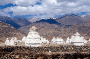 a field of stupas in the Indus Valley