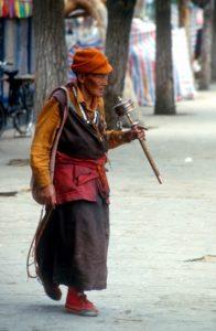 another pilgrim with prayer wheel