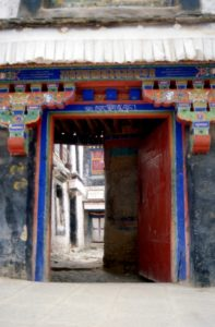 door to one of the courtyards at the Drepung monastery