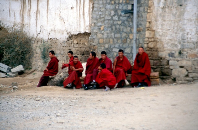 group of monks at the Drepung monastery