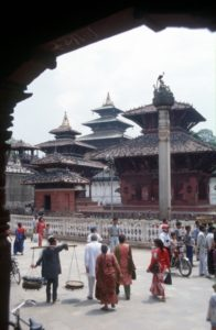 the main temple square in Kathmandu