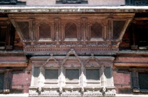 lots of wooden temples, intricately decorated