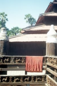 outside the wooden temple Bagaya Kyaung