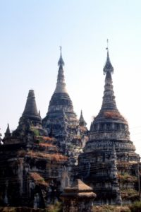 deserted pagodas in a deserted city