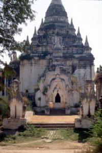 impressive structure, protected by stone lions