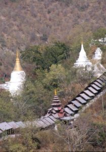 pagodas on Sagaing Hill, and the way to the top