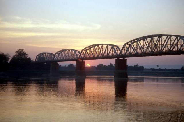 the British-built bridge at Mandalay, long the only bridge across the Irrawaddy River