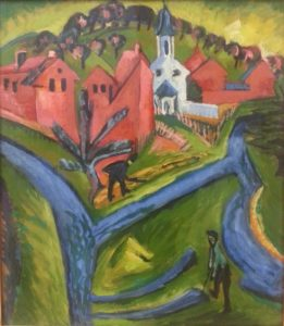 "main proponent of the 'Brucke' was Ernst Ludwig Kirchner: ""Village with Blue Roads"" (1916-1920)"