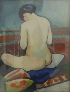 "August Macke is firmly part of the expressionists; ""Seated Nude with Cushion"" (1911)"