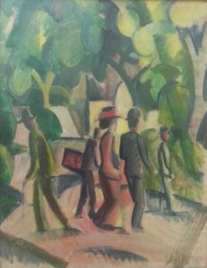 "another Macke is the lovely ""Promenade in blue and green"" (ca. 1913)"