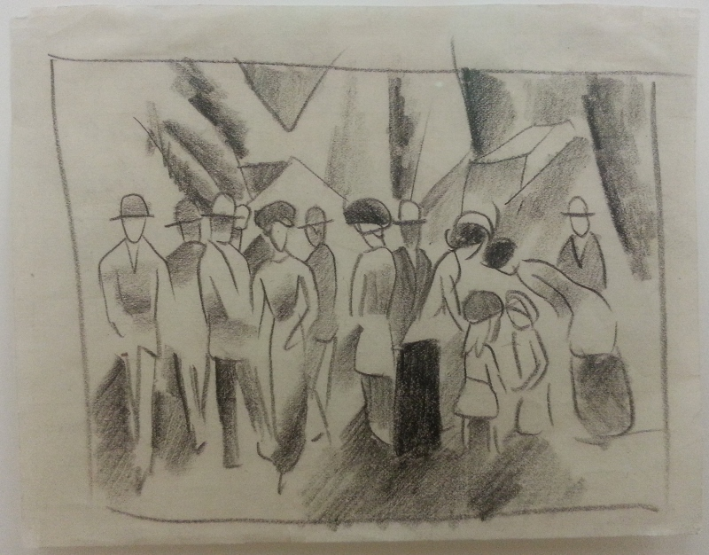 "not all is painting, this is chalk on paper, Macke's ""Meeting"" (1913-1914)"