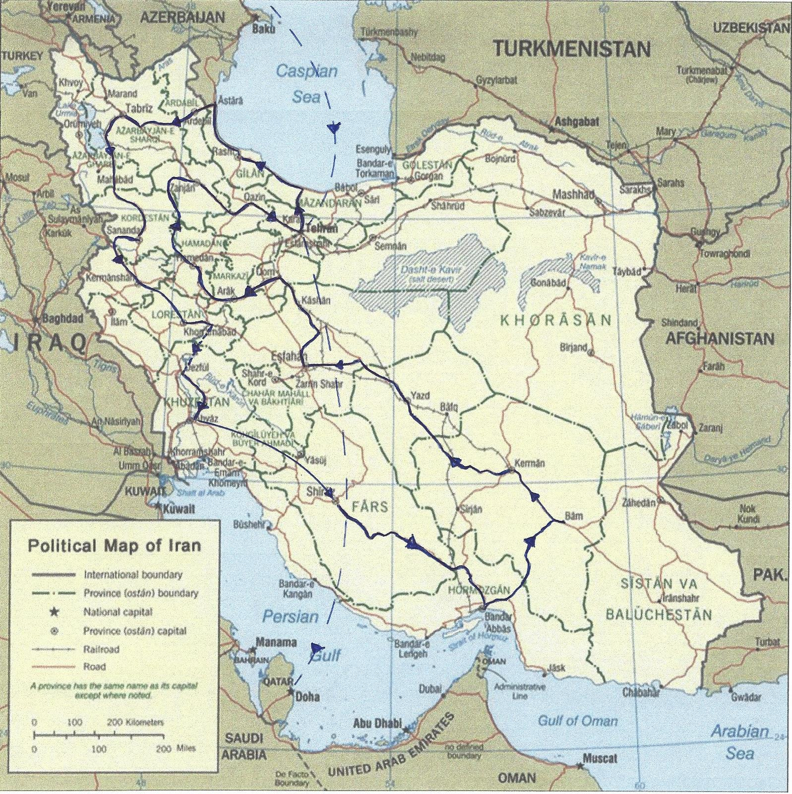 itinerary map_iran