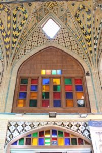 vaulted structure in the bazaar, and stained glass windows