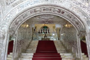 mirror and silver entrance to the main hall of the Golestan Palace