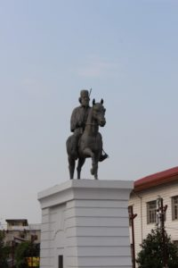 the man on the horse, the only tourist sight in Rasht