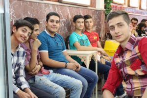 Tabriz youth enjoying their juice in the fruit juice parlour