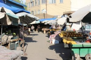 the bazaar in Bonab, note the grey umbrellas, where these are usually bright and colourful