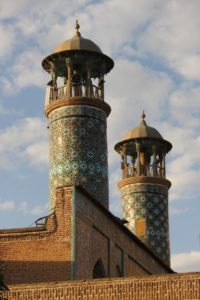 twin minarets of the old Daroselan mosque