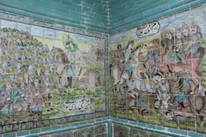 wall tiling depicting part of Hossein's battle