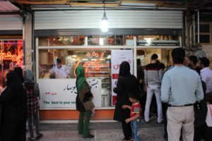 the most famous icecream shop in Kermanshah, no, in Iran (according to our friends...); people queue outside