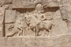 a Sassanid bas-relief at Naqsh-e Rostam, in an attempt to associate the Sassanids with the Achaemenid Dynasty