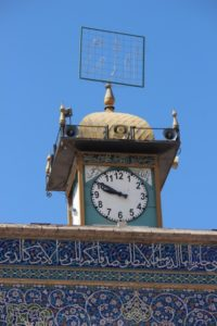 the mosque has no minaret, but a clock tower