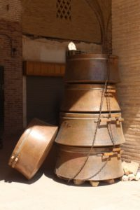 the bazaar is famous for its huge copper pans