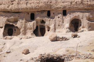 caves dug into the mountain