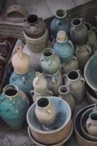 collections of pots in the bazaar