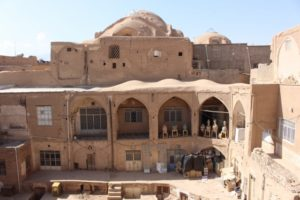 and a view from above into one of the open caravanserais