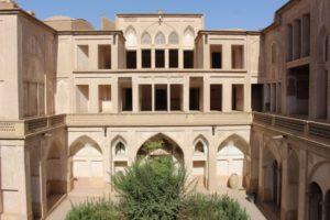 three floors around the central courtyard of the Khan-e Abbasian
