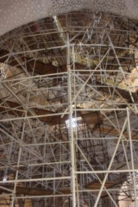 the extensive scaffolding inside the Oljeitu Mausoleum