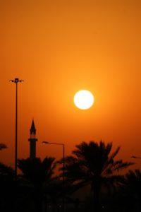 minaret along the Corniche of Doha at sunset