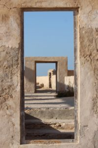 remains of the mosque in Al Jumail deserted village