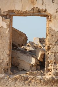 an old doorway, blocked
